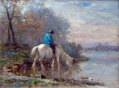 Paysage d'hiver au cheval