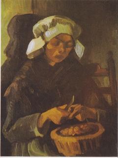 Peasant woman peeling potatoes