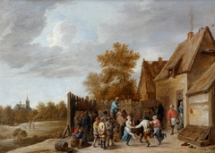 Peasants dancing outside a Tavern, with a Village Church in the distance