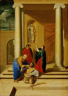 Petrus und Johannes heilen einen Lahmgeborenen im Tempel