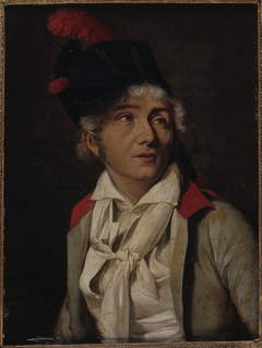 Portrait d'un acteur, en veste blanche à collet rouge