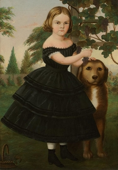 Portrait of a Girl and Her Dog in a Grape Arbor