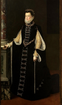 Portrait of Elisabeth of Valois holding a portrait of Philip II