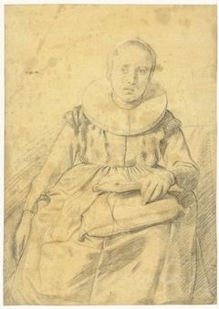 Portret van een zittende vrouw met een stijve plooikraag