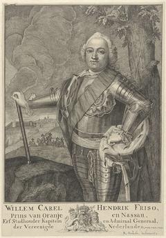 Portret van Willem IV, prins van Oranje Nassau, in wapenrusting met maarschalksstaf