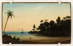 Praia com índios e veleiro (atribuído)