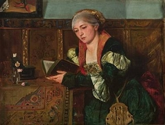 Reading lady in Renaissance dress