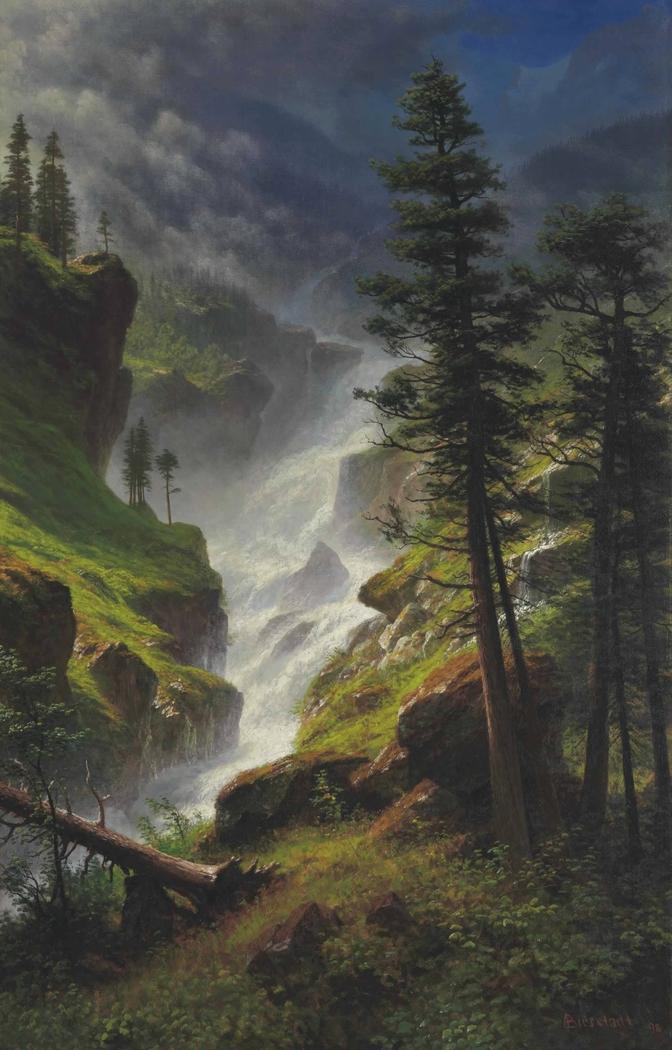 Rocky Mountain Waterfall Albert Bierstadt Artwork On Useum