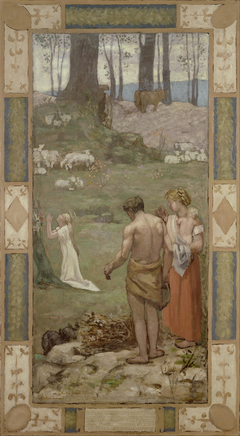 Saint Genevieve as a child in prayer