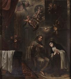 San Pedro de Alcántara confesando a Santa Teresa