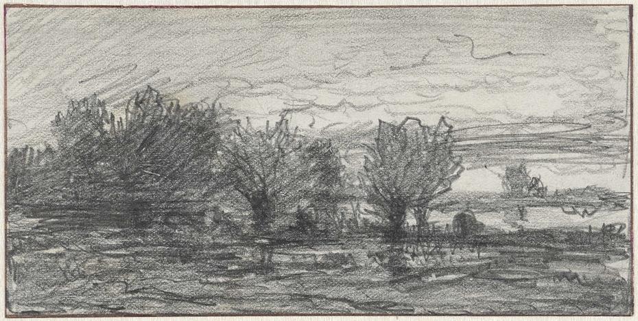 Schets van een landschap met knotwilgen