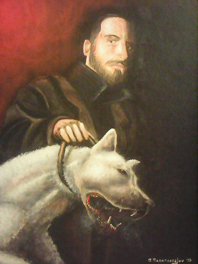 Selfportrait (with a Dogo argentino)