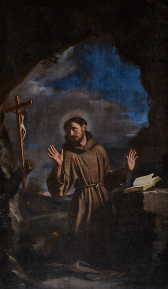 St. Francis in adoration of the crucifix