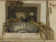 Still Life with a Bowl of Corn, Artichokes, Grapes and a Parrot