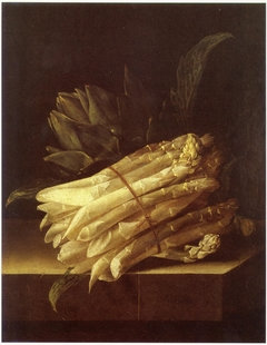 Still life with asparagus and artichoke