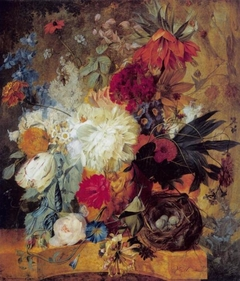 Still Life with Bouquet of Flowers and Bird's Nest