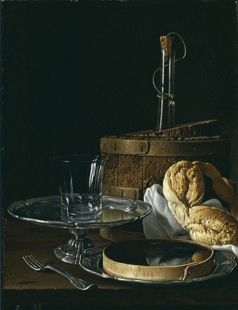 Still Life with Box of Jelly Bread Salver with Glass and Cooler