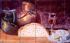 Still life with bread, cheese, wine and copper