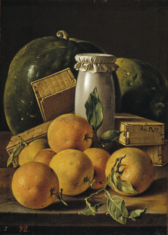 Still Life with Oranges Honey-Jar Boxes of Sweetmeats and Watermelons