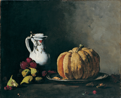 Still Life with Pumpkin, Plums, Cherries, Figs and Jug