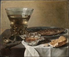 Still Life with Silver Brandy Bowl, Wine Glass, Herring, and Bread