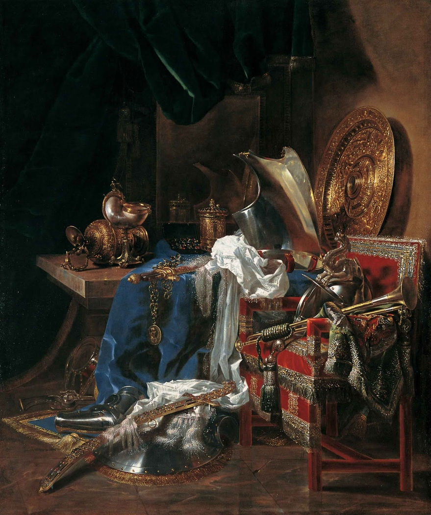 Still life with weaponry, nautilus cup, trumpet and silverware