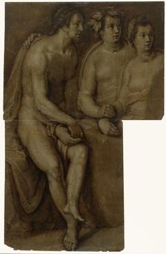 Studies van een zittende naakte man en twee vrouwen, ten halven lijve