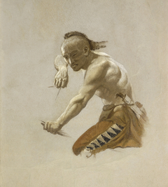 """Study for Indian in """"Buffalo Hunt by Indians"""""""