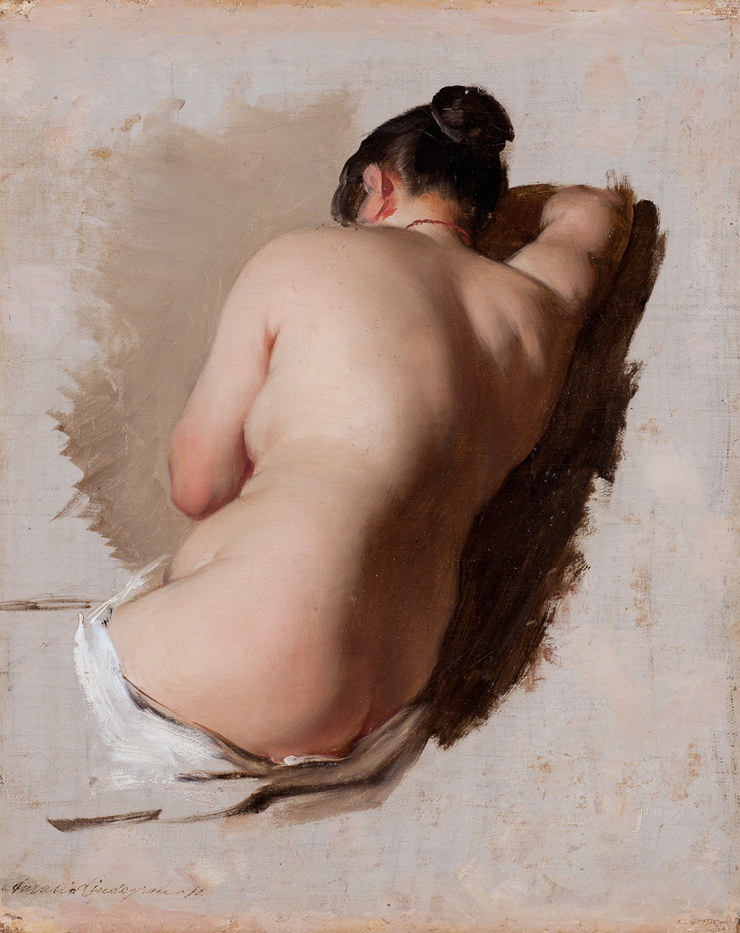 "Amalia Nude study of a female model"" amalia lindegren - artwork on useum"