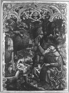 Teufel teilen einem Einsiedler mit, dass sie der Seele des Kaisers nicht habhaft werden konnten (Werkstatt)