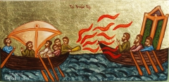 The Greek fire ( ignis graecus). Copy from Byzantine miniature.