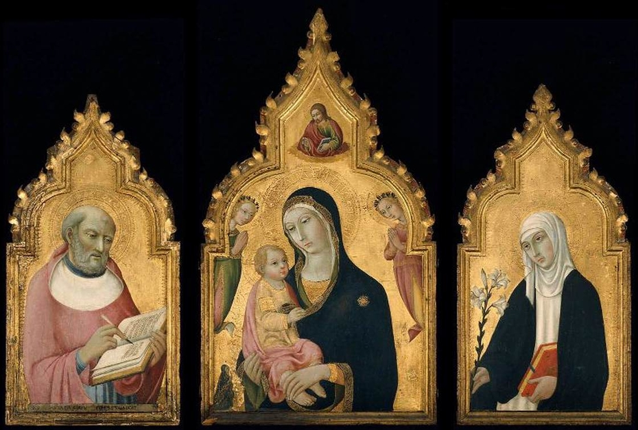 Triptych: The Virgin and Child with the Blessing Christ, Two Angels and a Donor