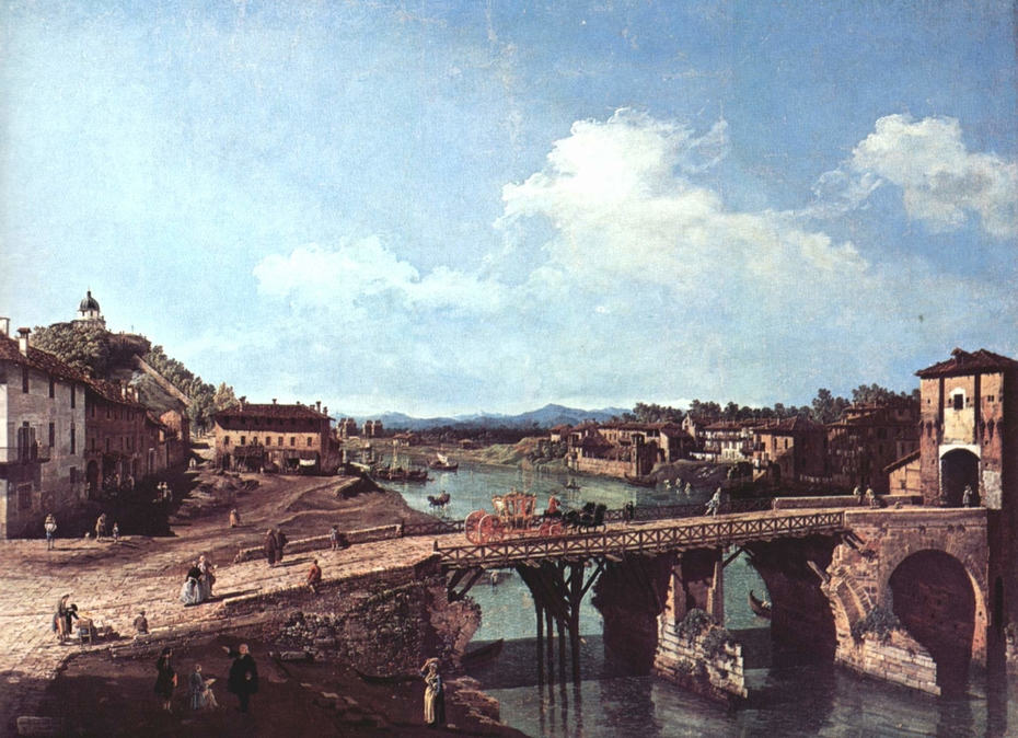 Turin, the Old Bridge over the Po from the North-East