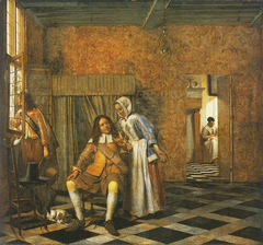 Two men and a young woman in a distinguished interior
