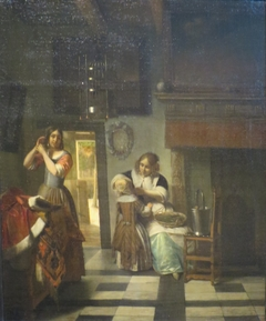 Two women and a child,  'A Mother's Care'