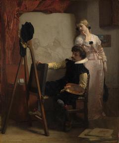 Een schilder voor zijn ezel toont een schilderij aan een meisje (A painter at his easel showing a painting to a girl)