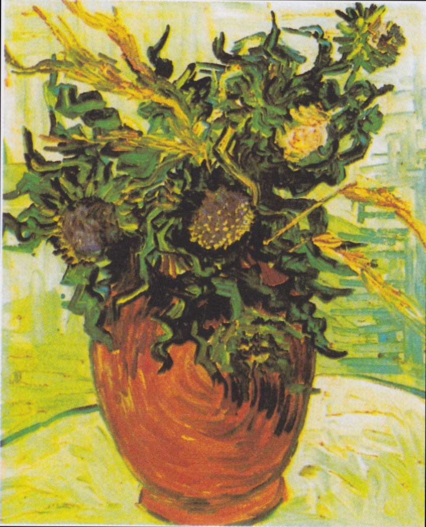 Vase with flowers and thistles