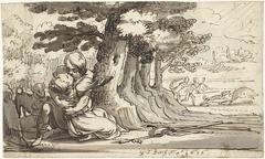 Venus en Adonis in een omhelzing verwikkeld