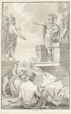 Vredesonderhandelingen tussen Claudius Civilis en Petilius Cerealis op een gebroken brug, 69-70
