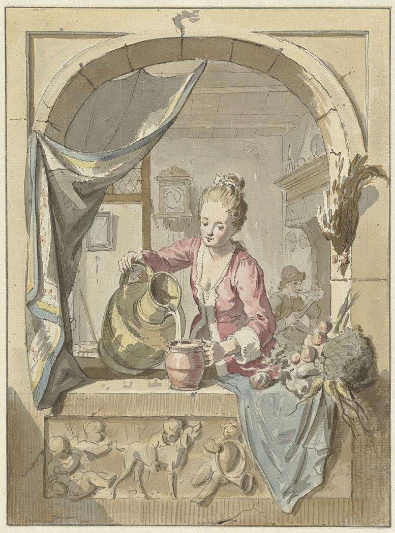 Vrouw schenkt melk uit een kan, in een venster