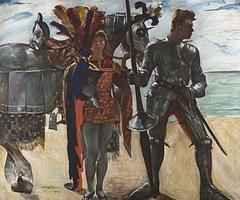 Wandschmuck der Villa Katzenellenbogen (Ruggiero und Knappe). Gemäldezyklus von insgesamt 11 Bildern
