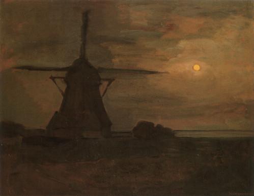 Windmill by Moonlight