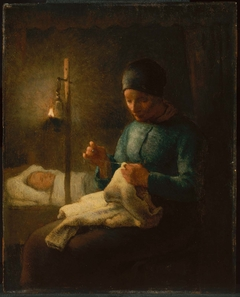 Woman Sewing beside her Sleeping Child
