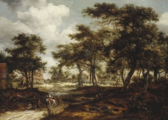 Wooded Landscape with Travellers and Beggars on a Road
