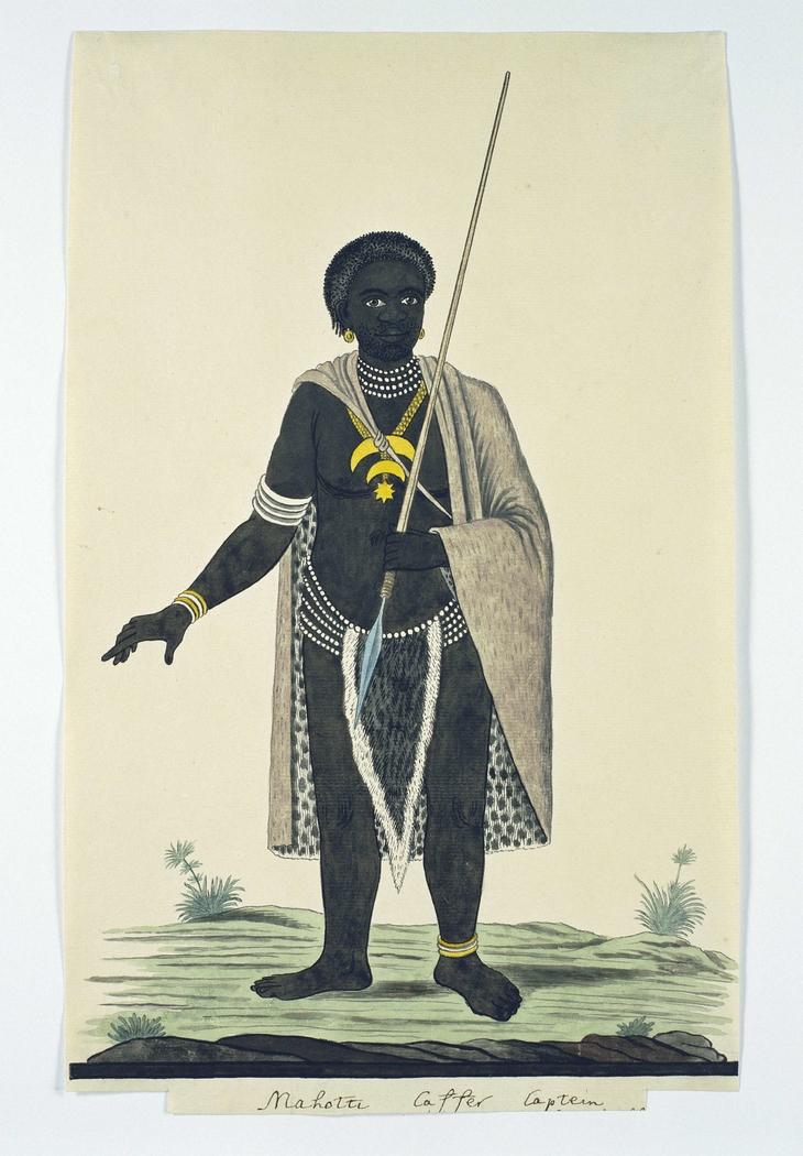 Xhosa-stamhoofd Mahot(t)i met een assegaai in zijn linkerhand