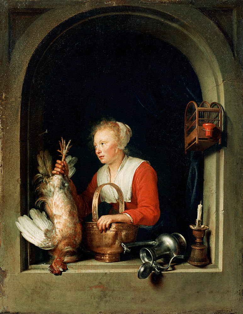 Young Woman Holding a Fowl in a Window