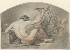 Zittend mannelijk naakt, de hand op het handvat van een vaas