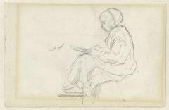 Zittend meisje, schrijvend op een lei
