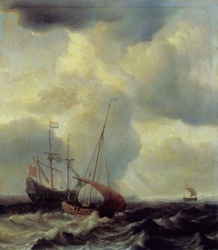 A Dutch Warship on a Rough Sea