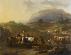 A Mountainous Landscape with Herdsmen Driving Cattle down a Road